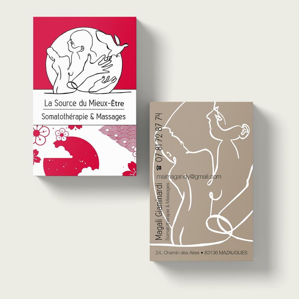 Création des cartes de visite d'une somothérapeute