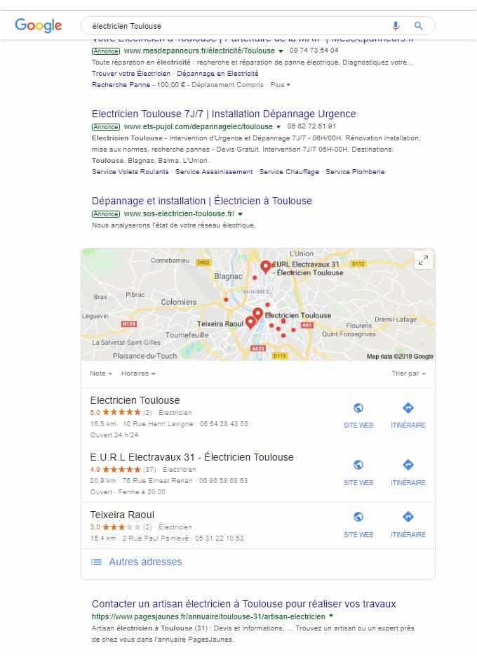 Recherches Google géolocalisées